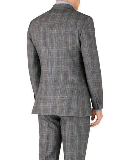 Silver Prince of Wales slim fit flannel double breasted business suit jacket