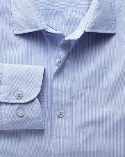 Slim fit sky blue poplin dobby shirt