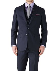 Dark blue stripe slim fit flannel business suit jacket