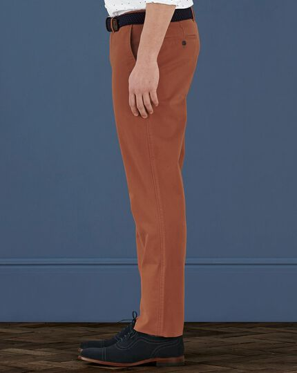 Burnt orange extra slim fit flat front weekend chinos
