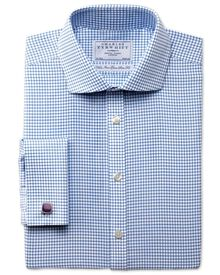 Extra slim fit non-iron spread collar basketweave check sky shirt
