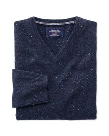 Navy Donegal v-neck jumper