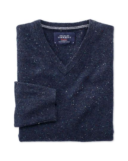 Navy Donegal v-neck sweater