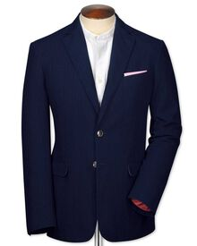 Classic fit indigo herringbone jacket