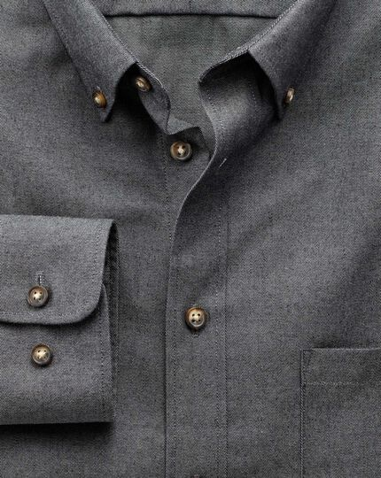 Slim fit non-iron twill dark grey shirt