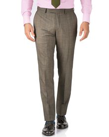 Beige slim fit British Panama luxury check suit trouser