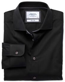 Classic fit semi-cutaway collar business casual black shirt