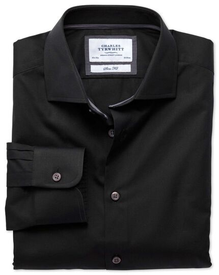 Slim fit semi-spread collar business casual black shirt