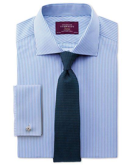 Slim fit semi-spread collar luxury poplin stripe sky blue shirt