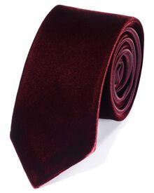Burgundy cotton luxury velvet slim tie