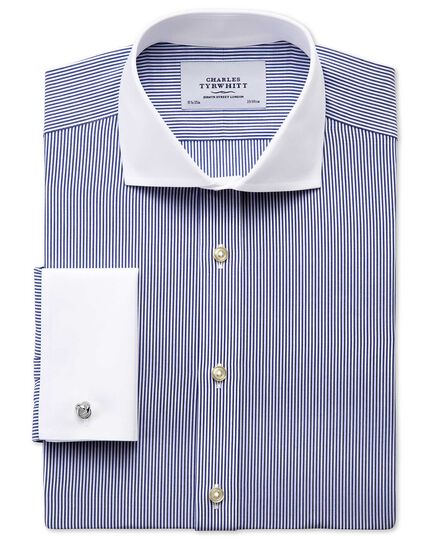 Slim fit cutaway collar non-iron bengal stripe navy Winchester shirt