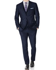 Navy stripe slim fit saxony business suit