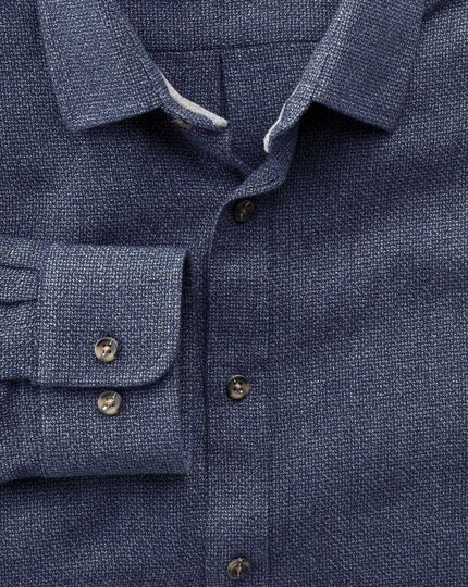 Extra slim fit navy mouline shirt