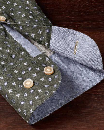 Classic fit olive paisley print shirt