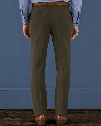 Khaki slim fit cotton flannel pants