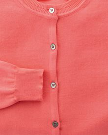 Women's coral cotton cashmere cardigan