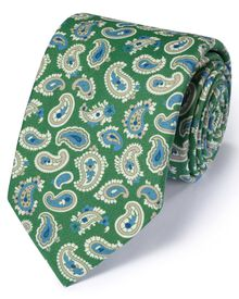 Green silk English luxury paisley tie