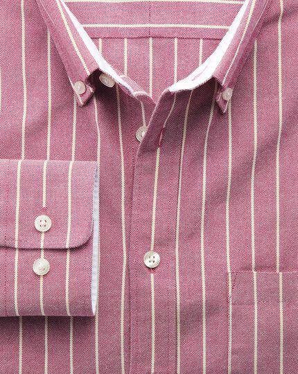 Extra slim fit magenta stripe washed Oxford shirt