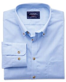 Extra slim fit non-iron poplin sky blue stripe shirt