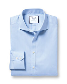 Slim fit spread collar non iron puppytooth sky blue shirt