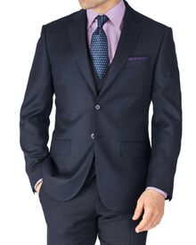 Blue slim fit sharkskin travel suit jacket