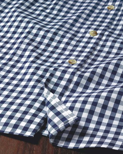 Classic fit non-iron poplin navy gingham shirt