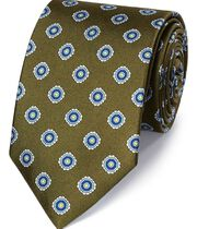 Olive silk printed classic tie