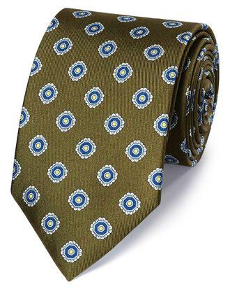 Olive silk printed classic tie