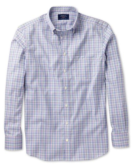 Slim fit non-iron poplin green and pink check shirt