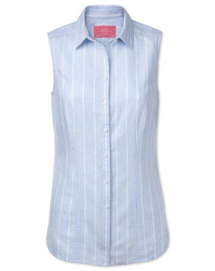 Women's semi-fitted linen sleeveless striped sky shirt