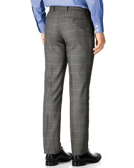 Grey check classic fit twill business suit pants