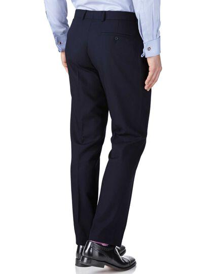 Navy slim fit herringbone business suit trousers