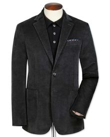 Slim fit grey stretch cord jacket