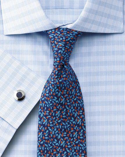Blue silk luxury floral slim tie