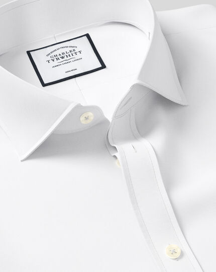 Classic fit cutaway non-iron poplin white shirt