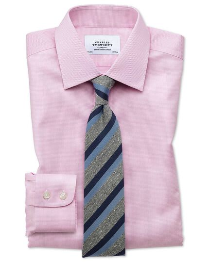 Extra slim fit non-iron puppytooth light pink shirt