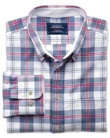 Classic fit blue and pink check washed Oxford shirt