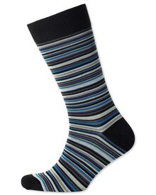 Black multi fine stripe socks