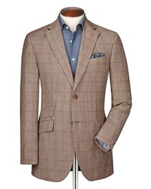 Classic fit red check linen mix jacket
