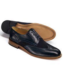 Mornington Budapester Derby-Schuh mit Flügelkappen in marineblau
