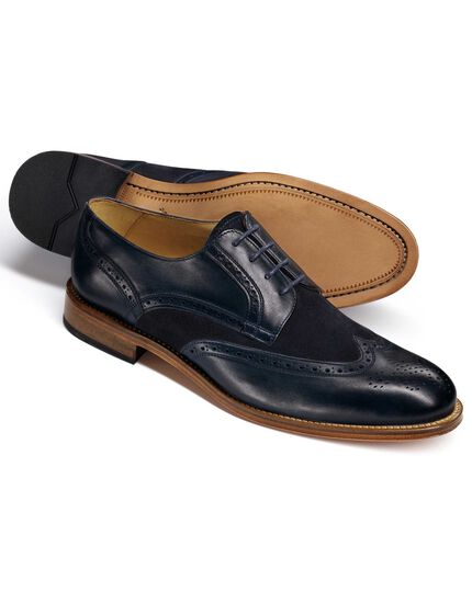 Navy Mornington wingtip brogue Derby co-respondent shoes