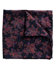 Navy paisley print luxury pocket square