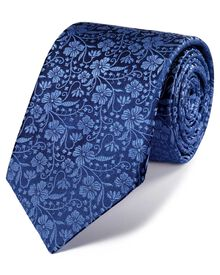 Navy and blue silk luxury English floral tie
