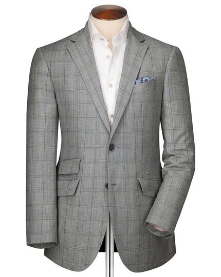 Classic fit blue check linen mix jacket