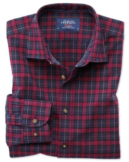 Classic fit heather tartan burgundy and navy blue check shirt