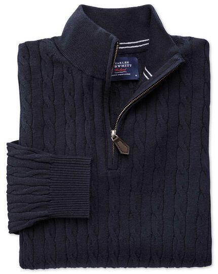 Navy cotton cashmere cable zip neck jumper