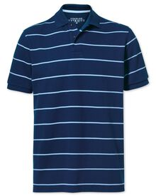 Blue and sky stripe pique polo