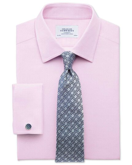 Slim fit Egyptian cotton diamond texture pink shirt