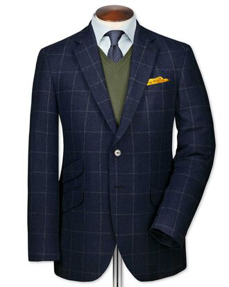 Classic fit blue check luxury border tweed jacket
