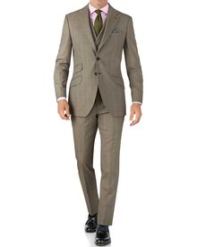 Beige slim fit British Panama luxury check suit